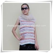 2015 Stylish design natural animal skins knitted colorful lamb fur vest