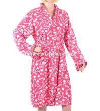2015 New Women Love Printe Microfleece Bathrobe Ladies Micro Fleece Bath Robe Sleepwear Nightgown