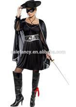 Sexy Mens Adult Zorro Black Masked Bandit Hero Halloween Fancy Dress Party Costume QAWC-2535