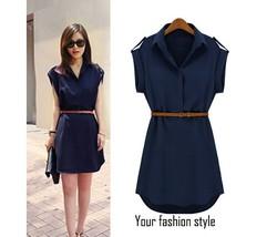 Women's Cap Sleeve Stretch Chiffon Casual navy blue Mini Dress With Belt SV001455