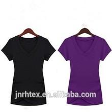 Wholesale fashion cotton plain v-neck women t shirt made in china