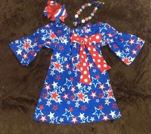 2015 new baby girls hot sell kids 4th of July dress with necklace and bow set