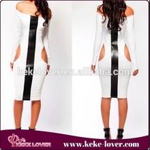 2015 fashion vestidos femininos sexy dreses women 2015 white with black party dresses vintage long sleeve women dresses
