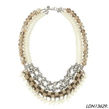 Woven band Pearls fringe collar necklace plain jewelry