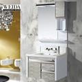 2015 famosa marca! Simples de aço inoxidável estilo americano do armário de banheiro com pia dupla