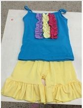 2015Summer Baby Girls Cotton Outfit Sleeveless Tshirt &Shorts 2Pcs Cotton Sets Boutique Summer Clothes Sets