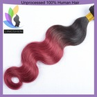 Burgundy Two Tone Ombre Remy Hair Weaving, Two Tone Hair Extension