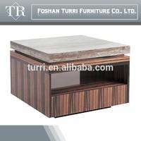 Luxury ebony veneer base marble top coffee table