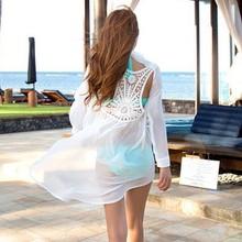 2015 Women's Chiffon Shirt Backless Lace Crochet triangl Bikini Swimwear Beach Bathing Suit SV003940