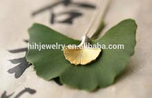 ginkgo leaf silver/gold two-tone pendant necklace mini cute leaf necklace fashion matt finish leaf necklace
