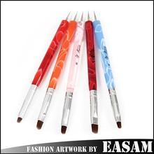 Colorful Acrylic Handle Double Use Nail Art Dotting Tools and Brushes Set