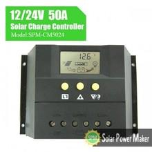 12v 24v 50a lcd controlador de carga solar