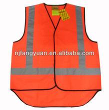 DFV-001 100% polyester knitted 120g Hi vis fluorescent orange safety vest with reflective tape