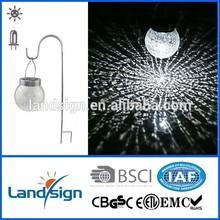 2-LED Color Changing Hanging Solar Cracked Glass Ball solar valentine decoration light