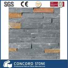 stacked stone panel black withe rusty slate