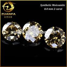 diamond cut round brilliant champagne colored synthetic moissanite