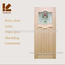 red walnut veneer mdf factory custom wrought iron and glass door