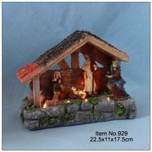 Christmas decoration nativity house with warm white led light,B/O