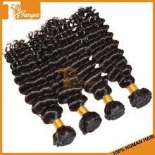 Grade 6A Remy Human Hair Weaving Black Color#1B Virgin Indian Deep Curly Hair