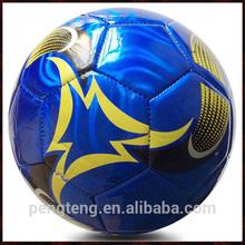 machine sewn blue metallic leather football ball