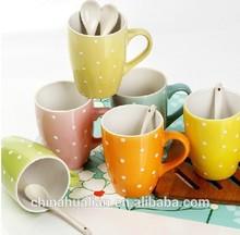 2015 hot sale promotional gift colorful coffee mug,mug with spoon,coffee mug gift set