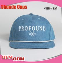 Custom Flat Brim Basketball Snapback Cap/3D Embroidery Jean Snapback Cap