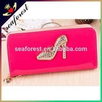 high heels design women purse bling crystal ladies hand pu wallet