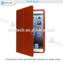 for ipad mini 3 design leather case folio open, typing stand metal bumper case for ipad mini 3