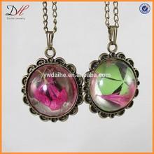 NC2130 Antique bronze pendant, botanical necklace, real flower necklace