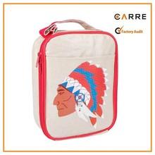 cute eco tote EVA coating waterproof insulated linen school kids lunch bag