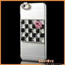 Crystal Square Diamante Lip Hard Plastic Shell Case for iPhone 6 Plus