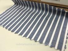 Midnight Blue & White Stripe Cotton Twill Fabric