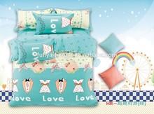 kids cartoon bedding set, custom printed bed sheet