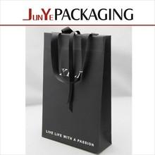 decoration handmade packaging jewelry gift black kraft satin handle paper bag