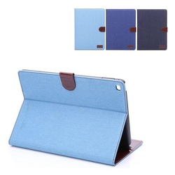 Jeans cloth pattern case for iPad air 2 wallet Cover with credit card slot and stand