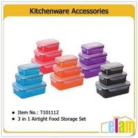 3 in 1 PP plastic food container with color lid