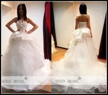 2015 QUEEN BRIDAL Latest Custom real photo A-line strapless peplum hand beaded long tail ball gown wedding dress