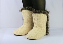 high quality light cable knit boot with faux fur boot