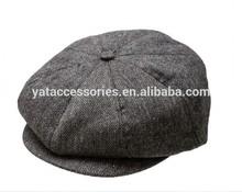 Black and Gray herringbone fabric Baby hats 8 panels Newsboy Cap