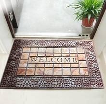 printed flocked rubber backing mat antislip mat