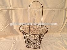 frame of gift basket metal material wire flower basket weaving garden tool wire storage basket type wholesale