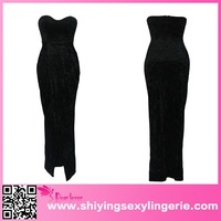 New Arrival india hot six Elegant Strapless Padded High Slit Maxi Dress sixe girl india