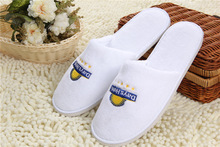Hotel Terry Towel Closed toe slippers/Bathroom washable cheap soft slippers with sponge heels