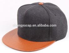 Flat brim leather snapback hats custom/flat leather brim snapback cap