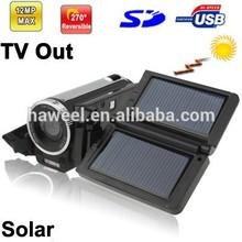 2.4 inch 5.0 Mega pixels Solar Powered 4X Zoom DV Digital Video Camera , Max pixels: 12.0 Mega pixels (Interpolation)(Black)