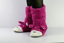 girls lovely faux fur boot ladies boot with animal pattern