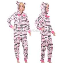 2015 New Micro Fleece Front Zip Women Onesie With Hood