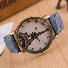 British wind denim vintage watches Digital student leisure bronze antique watch with Eiffel Tower