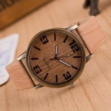 2015 Fashion simple style Wood grain leather quartz watch wome dress wristwatches men casual watch relogios femininos masculinos