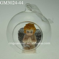 hanging decor Christmas glass ball ornament with an angel inside